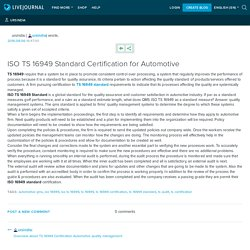 ISO TS 16949 Standard Certification for Automotive: ursindia