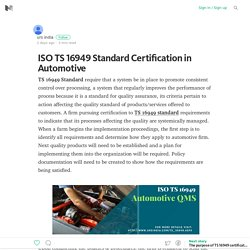 ISO TS 16949 Standard Certification in Automotive