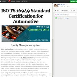 ISO TS 16949 Standard Certification for Automotive
