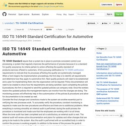 ISO TS 16949 Standard Certification for Automotive · ursindia2/TS-16949-Certification Wiki