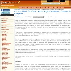 All You Need To Know About Yoga Certification Courses In Bangalore