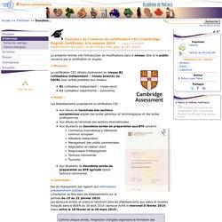 Évolution de l'examen de certification CEC (Cambridge English Certificate) à la session 2019- Anglais