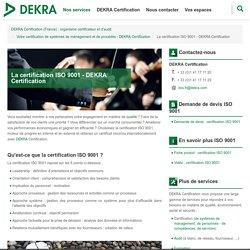 Certification ISO 9001- DEKRA, votre organisme certificateur