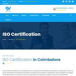 ISO Certification In Coimbatore and ISO 9001 Certification Consultant Coimbatore