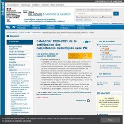Calendrier 2020-2021 de la certification des compétences numériques avec Pix — ÉcoGest