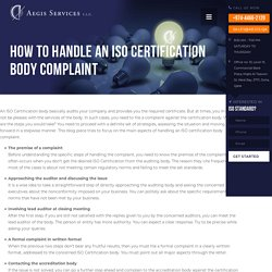 How to Handle an ISO Certification Body Complaint - Aegis Services
