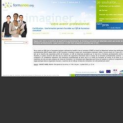 Certification : Une formation permet d'accéder au CQP de formateur-consultant