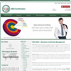 ISO 22301 Certification - Business Continuity Management, BCM, URS India