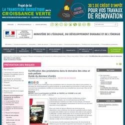 MEDDE 09/10/14 Certification des prestataires dans le domaine des sites et sols pollués