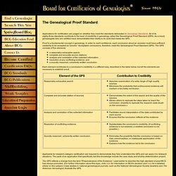 Board for Certification of Genealogists ® - The Genealogical Proof Standard