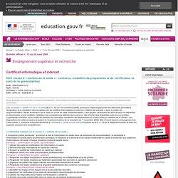 C2i® niveau 2 « métiers de la santé » : contenus, modalités de préparation et de certification et suivi de la généralisation - ESRT0900127C