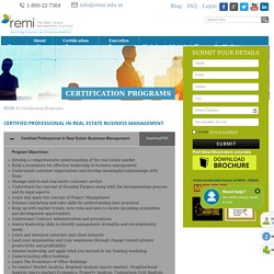Certification Programme in Real Estate Business Management