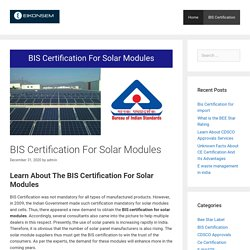 BIS certification for solar modules