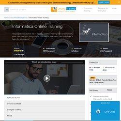 Informatica Certification Course OnlineITGuru