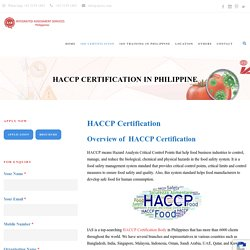 HACCP Certification in Philippines