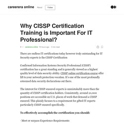 Why CISSP Certification Training is Important For IT Professional?
