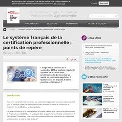 Le système français de la certification professionnelle : points de repère