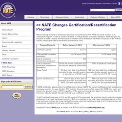 NATE Changes Certification/Recertification Program