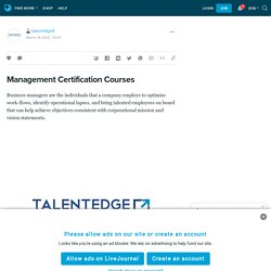 Management Certification Courses : talentedge9 — LiveJournal