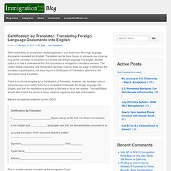 Certification by Translator: Translating Foreign Language Documents into English