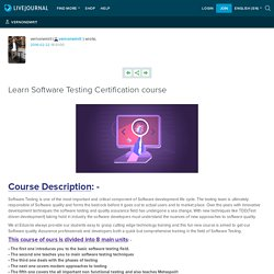 Learn Software Testing Certification course: vernonemrit