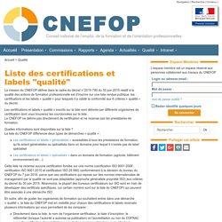 """Liste des certifications et labels """"qualité"""" - CNEFOP"""