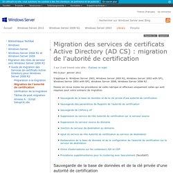 Migration des services de certificats Active Directory (AD CS): migration de l'autorité de certification