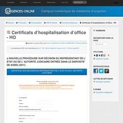 Certificats d'hospitalisation d'office - HO
