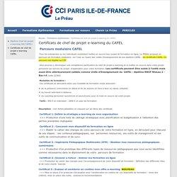 Certificats de chef de projet e-learning du CAFEL