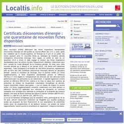 Certificats d'économies d'énergie : une quarantaine de nouvelles fiches disponibles - Localtis.info - Caisse des Dépôts