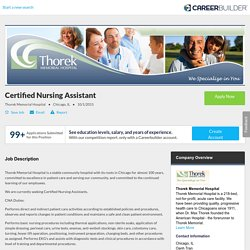 Certified Nursing Assistant Jobs in Chicago, IL - Thorek Memorial Hospital