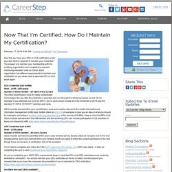 How to Maintain Your CPC or CCA certification