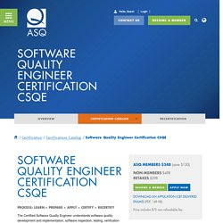 Become CSQE Certified - Software Quality Engineer Certification