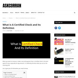 What Is A Certified Check and Its Definition - AskCorran