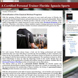 A Certified Personal Trainer Florida- Ignacio Sports: Diversification of the Classical Workout Programs
