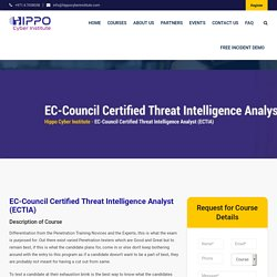 EC-Council Certified Threat Intelligence Analyst (ECTIA) - Hippo Cyber Institute