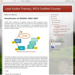 IRCA Certified Courses : Introduction of OHSAS 18001:2007