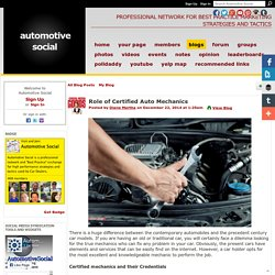 Role of Certified Auto Mechanics