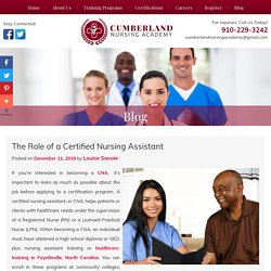 The Role of a Certified Nursing Assistant