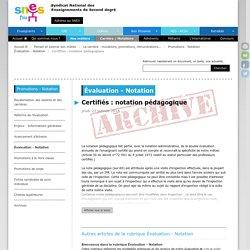 Certifiés : notation pédagogique