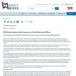 PFO Global Names Matt Cevasco as Chief Executive Officer