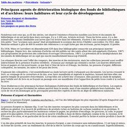 [FR] Principaux agents de détérioration biologique (UNESCO)
