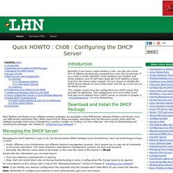Ch08 : Configuring the DHCP Server