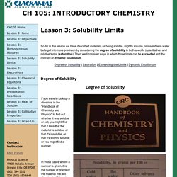 CH105: Lesson 3 Solubility Limits
