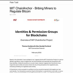 MIT ChainAnchor - Bribing Miners to Regulate Bitcoin