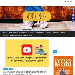 20 chaînes youtube pour apprendre et réviser au collège et lycée