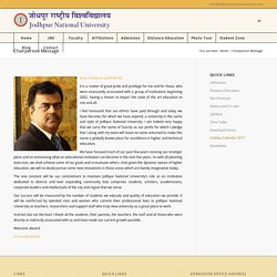 Chairperson Message - JODHPUR NATIONAL UNIVERSITY, JODHPUR
