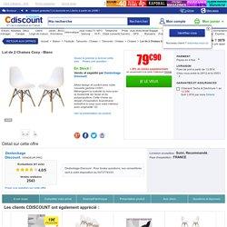 Lot de 2 Chaises Cosy - Blanc - Achat / Vente chaise Blanc