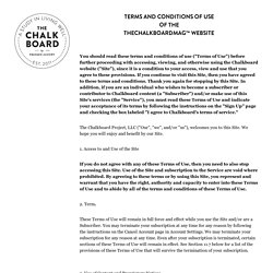 The Chalkboard Magazine: Terms + Conditions