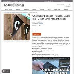 Chalkboard Banner Triangle Single 8 x 10 inch Vinyl Pennant Black